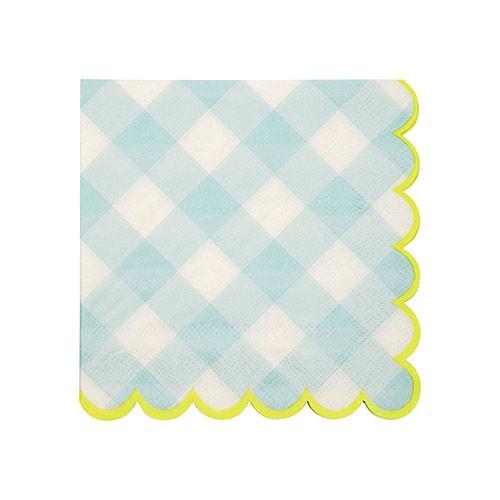 Салфетки голубые в клетку Meri Meri