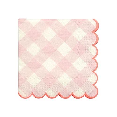 Салфетки розовые в клетку Meri Meri