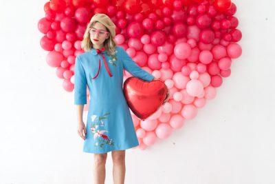 Сердце из шаров в стиле Омбре