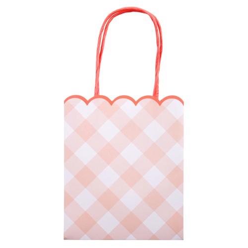 Подарочные пакеты «Розовая клетка» 8шт. от Meri Meri