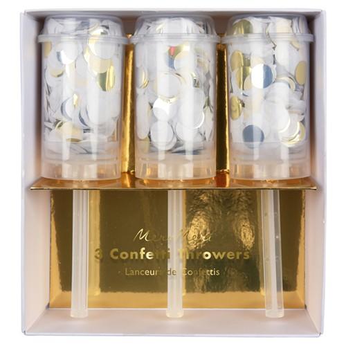 Хлопушки с конфетти золото/серебро 3шт. от Meri Meri